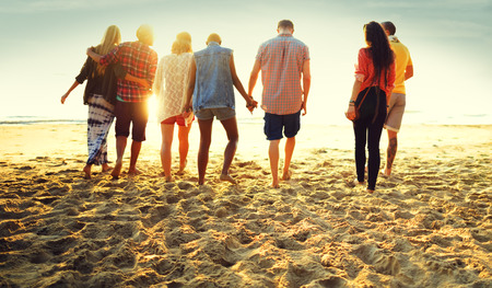 diverse hands: Friendship Bonding Relaxation Summer Beach Happiness Concept Stock Photo
