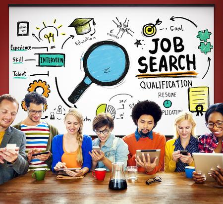 Zoek baan Kwalificatie Resume Recruitment inhuren Application Concept Stockfoto
