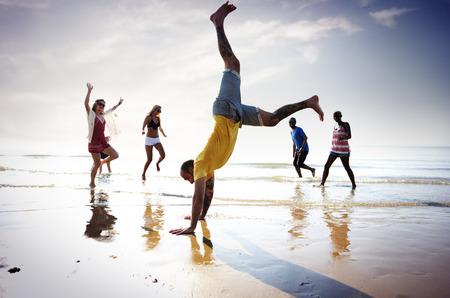 somersault: Friendship Freedom Beach Summer Holiday Concept