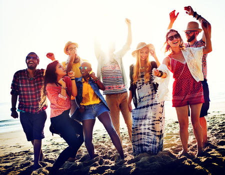 teen beach: Teenagers Friends Beach Party Happiness Concept Stock Photo