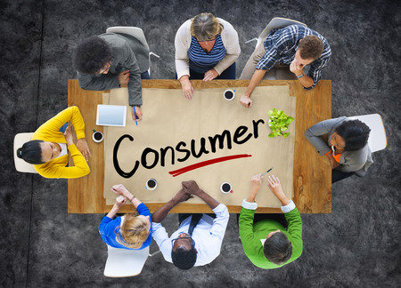 end user: Aerial View of Multiethnic Group with Consumer Concept