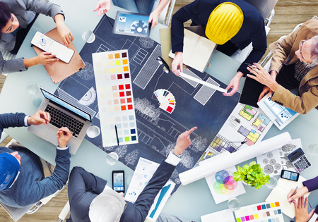 arquitecto: Los arquitectos y dise�adores que trabajan en la Oficina Foto de archivo