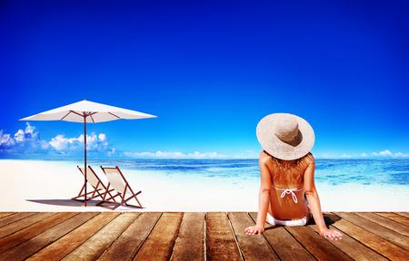 freedom: Woman Sunbathe Sunny Summer Beach Relaxing Concept