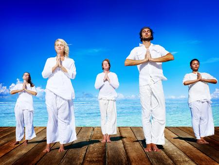 peaceful: People Yoga Meditation Beach Nature Peaceful Concept Stock Photo