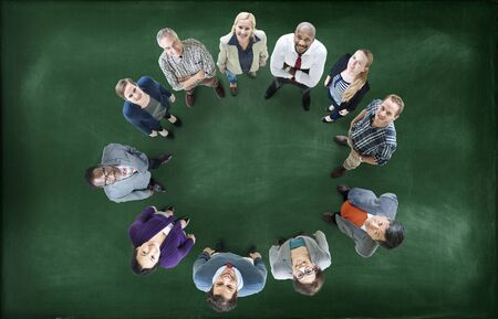 round collar: Aerial View Business People Community Circle Teamwork Concept