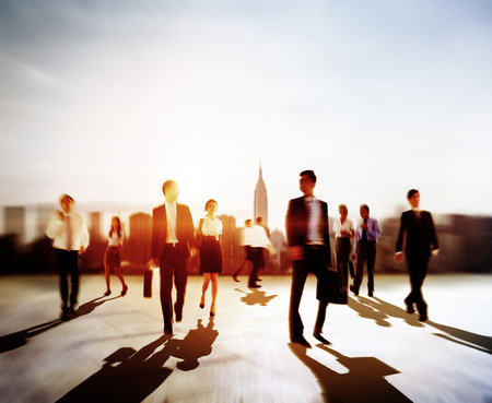businessman walking: Business People Rush Hour Walking Commuting City Concept