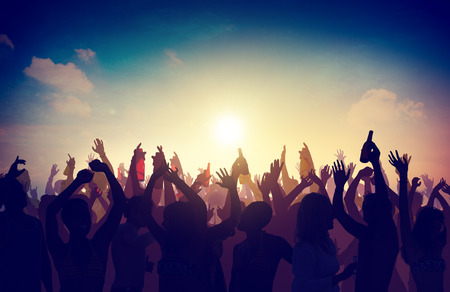 people together: People Crowd Party Celebration Drinks Arms Raised Concept Stock Photo