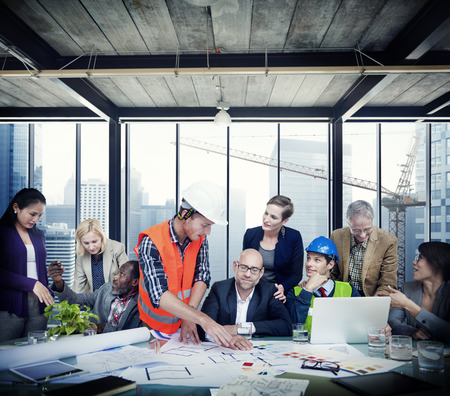 Business People Construction Worker Discussion Teamwork Concept