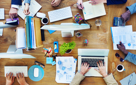business teamwork: Group of Business People Working in the Office Stock Photo