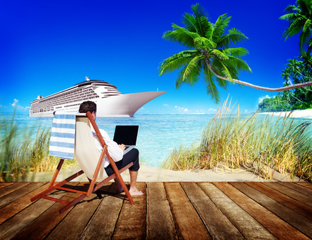 business travel: Businessman Holiday Working Business Travel Beach Concept