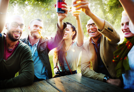 Diverse People Friends Hanging Out Drinking Concept