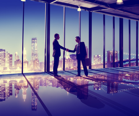 business  deal: Business People Hand Shake Office City Concept
