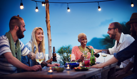 candlelit: Diverse Beach Summer Party Roof Top Fun Concept
