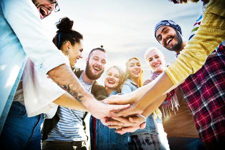 holiday summer: Friendship Join Hands Celebration Summer Beach Concept