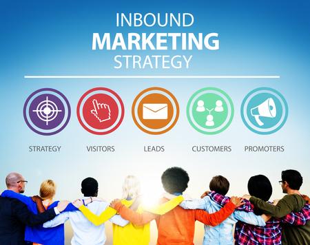 inbound: Inbound Marketing Strategy Advertisement Commercial Branding Concept Stock Photo