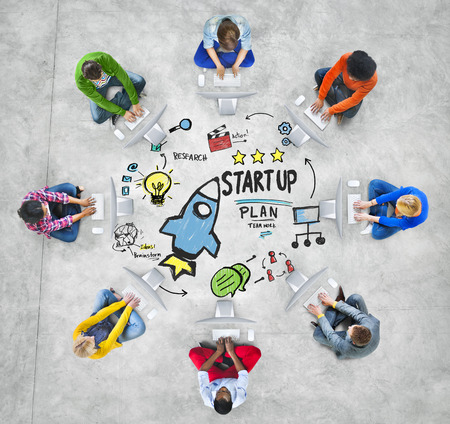 new idea: Start Up Business Launch Success Computer Technology Concept Stock Photo