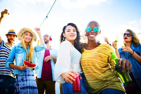 beach drink: Dancing Beach Summer Happiness Joyful Concept Stock Photo