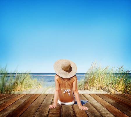 sunbathe: Woman Sunbathe Sunny Summer Beach Relaxing Concept