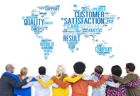 excellent service: Customer Satisfaction Reliability Quality Service Concept Stock Photo