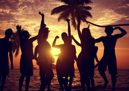 Pessoas Celebration Beach Party Summer Holiday Vacation Concept Imagens