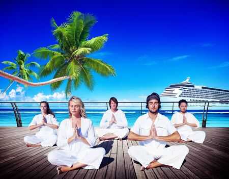 yoga meditation: People Yoga Meditation Beach Nature Peaceful Concept Stock Photo