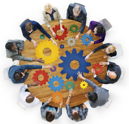 diverse business team: Brainstorming Cog Collaboration Team Togetherness Concept