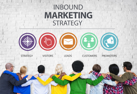 social marketing: Inbound Marketing Strategy Advertisement Commercial Branding Concept Stock Photo