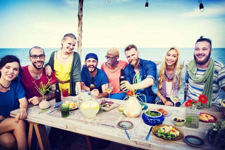 Beach Summer Dinner Party Celebration Concept 版權商用圖片