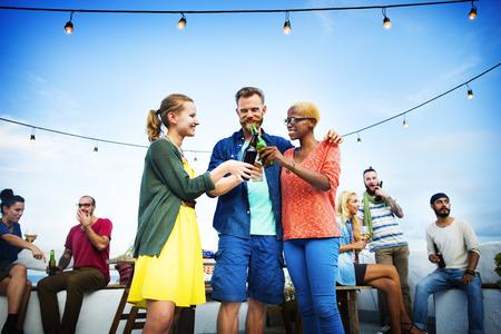 summer food: Beach Summer Dinner Party Celebration Concept Stock Photo