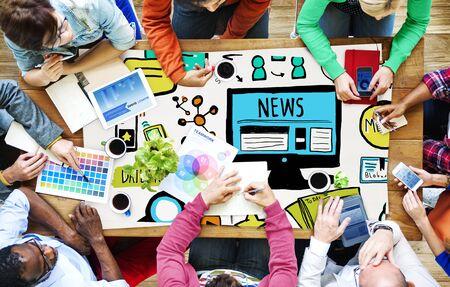 News Article Werbung Erscheinungs Medien Journalismus Konzept