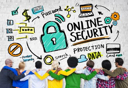 online security: Online Security Protection Internet Safety People Friendship Concept Stock Photo