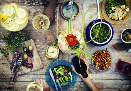 Food Table Healthy Delicious Organic Meal Concept Stok Fotoğraf