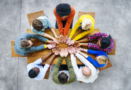 unity: Diversity People Student Teamwork Friendship Support Concept Stock Photo