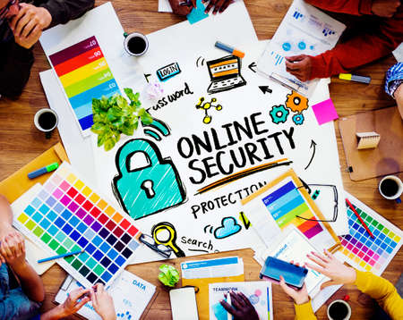 internet safety: Online Security Protection Internet Safety Design Meeting Concept Stock Photo