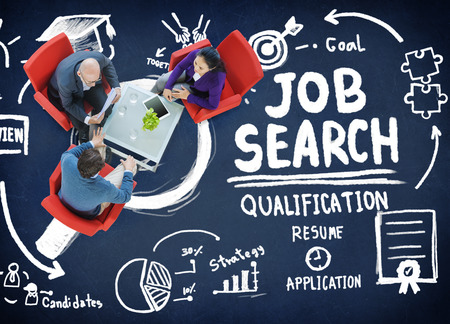 job search: Job Search Qualification Resume Recruitment Hiring Application Concept