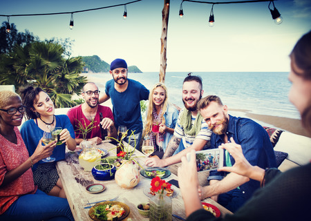 'food and beverage: Beach Cheers Celebration Summer Selfie Concept