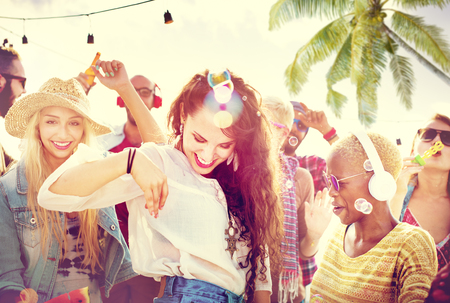 joy: Friendship Dancing Bonding Beach Happiness Joyful Concept