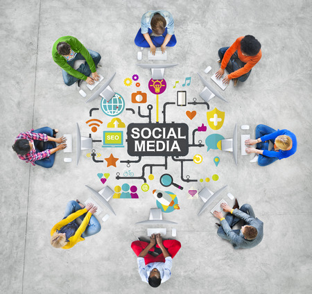 network connection: Social Media Social Networking Connection Global Concept Stock Photo