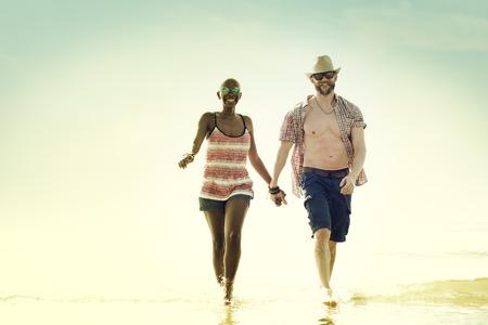 honey moon: Sweet Beach Summer Holiday Couple Love Concept