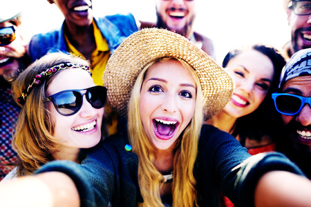 take a smile: Diverse People Beach Summer Friends Fun Selfie Concept