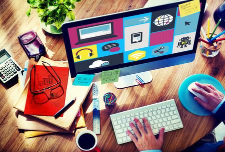 designer at work: Computer Cloud Computing Storage Media Digital Concept