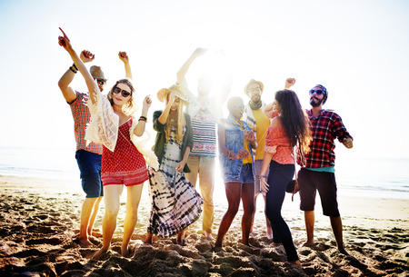 sunny beach: Teenagers Friends Beach Party Happiness Concept Stock Photo