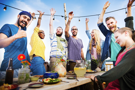 holiday food: Beach Summer Dinner Party Celebration Concept Stock Photo