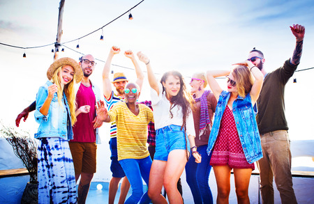 and activities: Teenagers Friends Beach Party Happiness Concept Stock Photo