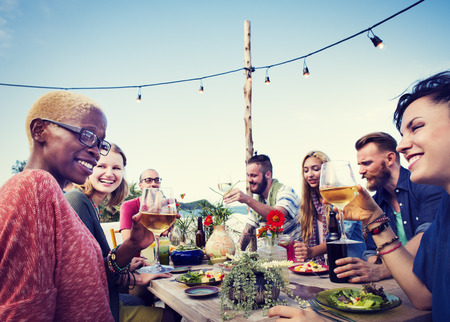 party food: Beach Summer Dinner Party Celebration Concept Stock Photo