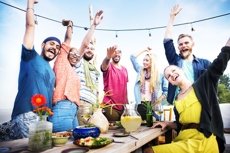holiday party: Beach Party Dinner Friendship Happiness Summer Concept