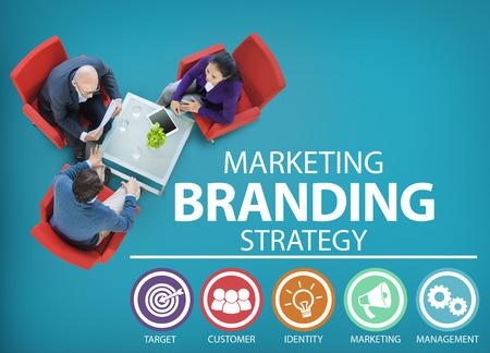 concepto: Marca Logotipos Marketing Comercial Nombre Concept Foto de archivo