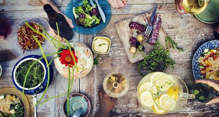 Eten Drinken Party maaltijd drinken concept Stockfoto