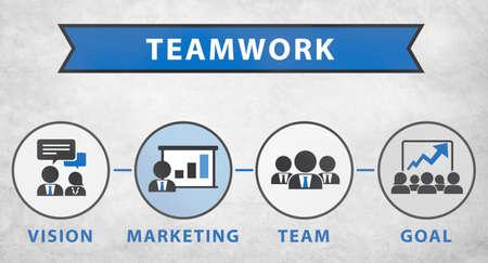 trabajando en equipo: Equipo Visión de Marketing Objetivo Corporativo Concepto Trabajo en equipo Foto de archivo