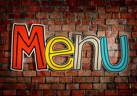 single word: Menu Brick wall Single Word Text Background Clean Concept Stock Photo